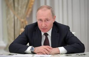 MOSCOW, RUSSIA - MARCH 6, 2020: Russia's President Vladimir Putin holds a meeting with State Duma faction leaders to discuss amendments to the Russian Constitution. Alexei Druzhinin/Russian Presidential Press and Information Office/TASS  Ðîññèÿ. Ìîñêâà. Ïðåçèäåíò Ðîññèè Âëàäèìèð Ïóòèí âî âðåìÿ âñòðå÷è ñ ðóêîâîäèòåëÿìè ôðàêöèé Ãîñóäàðñòâåííîé Äóìû ÐÔ, ïîñâÿùåííîé îáñóæäåíèþ ïîïðàâîê â Êîíñòèòóöèþ Ðîññèè, â Êðåìëå. Àëåêñåé Äðóæèíèí/ïðåññ-ñëóæáà ïðåçèäåíòà ÐÔ/ÒÀÑÑ